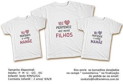 Kit Familia de Camisetas - Meu coração aos meus Filhos Mistos