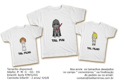 Kit Familia de Camisetas de star wars