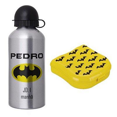 Garrafa Squeeze Escolar Personalizada + Porta Sanduíche - Batman
