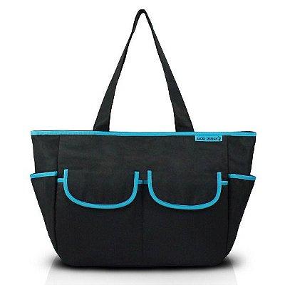 Bolsa de Bebê - Mama & Me - Preta com Azul