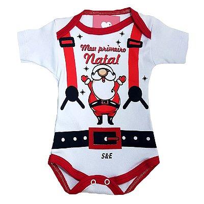 Body de Bebe de Natal - Meu Primeiro Natal HOHOHO