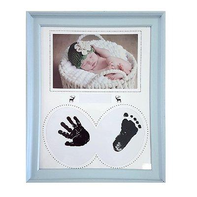Quadro Decorativo Com Impressão por carimbeira Para Mão/Pés Azul