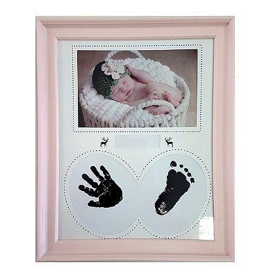 Quadro Decorativo Com Impressão por carimbeira Para Mão/Pés Rosa