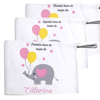 Kit c/ 3 Saquinhos para Maternidade - Elefantinho Rosa