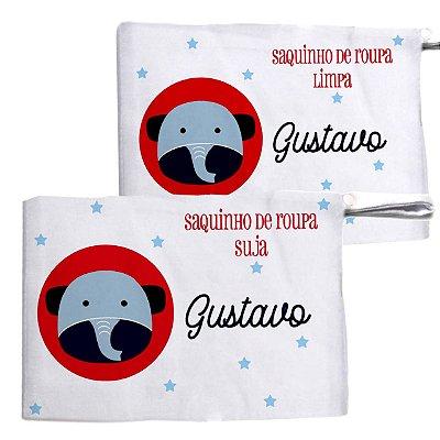 Kit c/ 2 Saquinhos Personalizado para Roupa Suja - Elefantinho