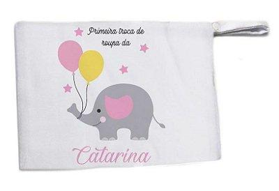 Saquinho para Maternidade Elefantinho Rosa -  Primeira Roupinha
