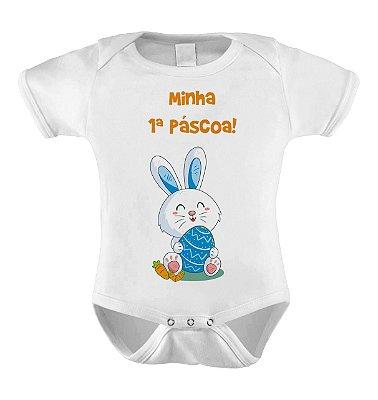 Body ou Camiseta Divertido -  Minha Primeira Páscoa Coelho Azul