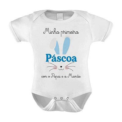 Body ou Camiseta Divertido -  Minha Primeira Páscoa Com o papai e a Mamãe Azul