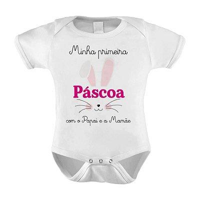 Body ou Camiseta Divertido -  Minha Primeira Páscoa Com o papai e a Mamãe rosa