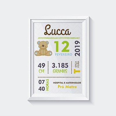 Quadro Decorativo Infantil - Dados de nascimento Ursinho Menino