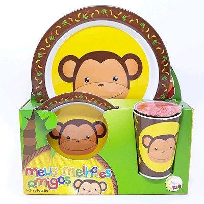 Kit Refeição - Prato raso, Tigela, e Copo  Melamina - Macaco