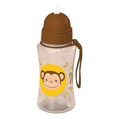 Garrafa Infantil plástica com Canudo 400ml - Macaco
