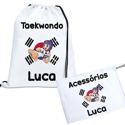 Kit Taekwondo Personalizado com nome - Menino