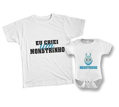 Kit camiseta e Body - Eu criei um Monstrinho azul