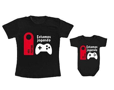 Kit camiseta e Body - Tal Pai tal filho - Estamos Jogando