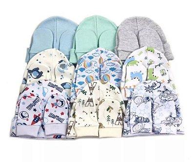 10 Kits Toucas e luvas 100% algodão - 0 a 4 meses VARIADOS DE MENINO