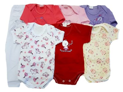 Kit Roupa Bebê Menina 0-3 Meses - 9 Pcs Bebe Reborn (55cm) 6 Bodys 3 Mijão