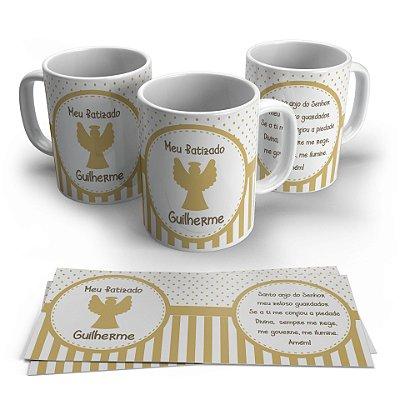 Caneca Personalizada Cerâmica Batizado Poá e Listras Dourado