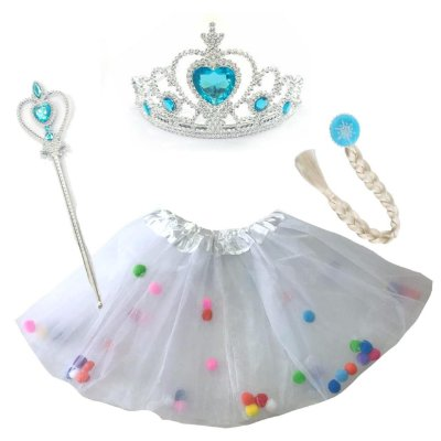 Kit Saia com Tiara e Acessórios Princesa do Gelo