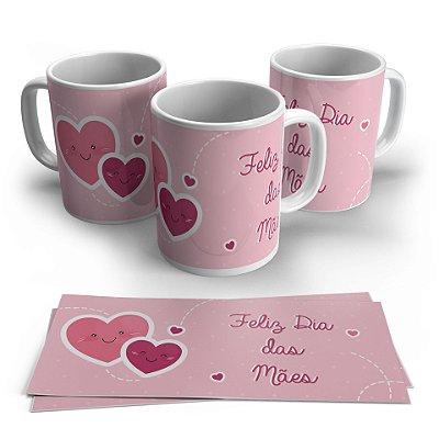 Caneca Dia das Mães - Feliz Dia das Mães Coração Rosa - 1 Unidade