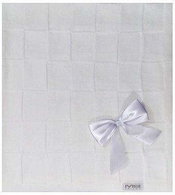 Manta Tricô Quadriculado Michele Baby - Branco