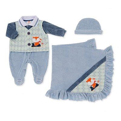 Saída Maternidade Raposinha Azul Plush - 3 peças