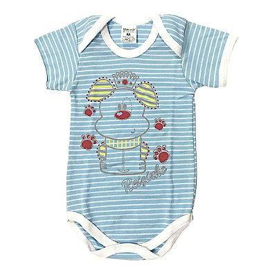 Body Bebê Manga Curta Dog Reizinho Azul