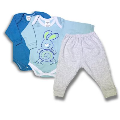 Kit Roupa Body Bebê 3 peças - Coelhinho