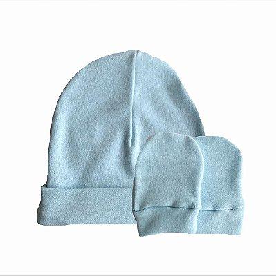 Kit Touca e Luvas Bebê Suedine Azul Bebê - Belita Mimos
