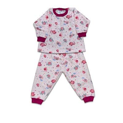 Pijama de Soft Infantil Elefantinho Rosa