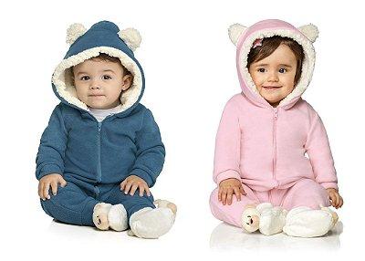 Macacão Soft Inverno Ursinho Capuz Bebê  Azul