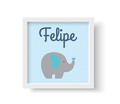 Quadro Decorativo Infantil Elefantinho Azul