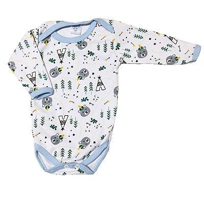 Body Bebê Manga Longa Urso Indiozinho Azul