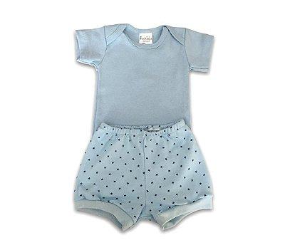 Conjunto Bebê Body e Shorts Estrelinha Azul