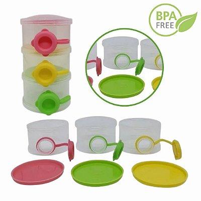 Pote Dosador Para Leite Em Pó Colors -3 Unidades