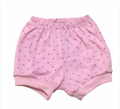 Shorts Bebê em Algodão com Punho - Estrelinha Rosa