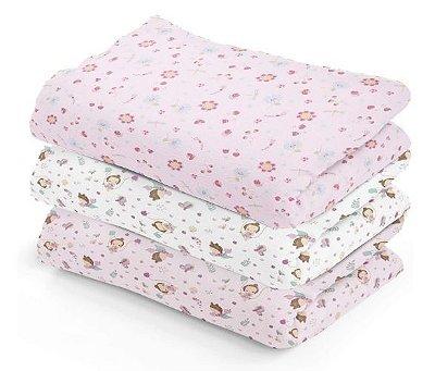 Fralda Cueiro de Pano C/3 unidades Rosa - Flores
