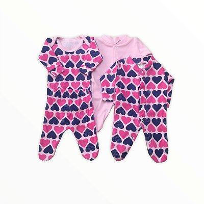 Kit Prematuro 2 Macacões + Body +calça  de Menina - Corações Marinho