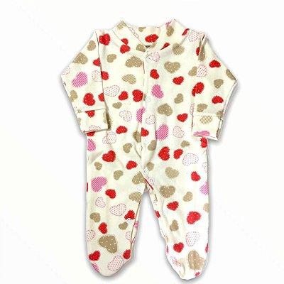 Macacão Bebê Prematuro Suedine Manga Longa - Corações