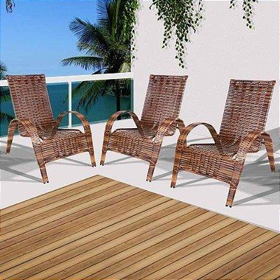 Conjunto 3 cadeiras de área externa varanda e jardim em junco Rei