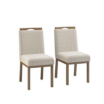 Conjunto 2 Cadeiras Sofia Estofada - Nogueira/Cinza