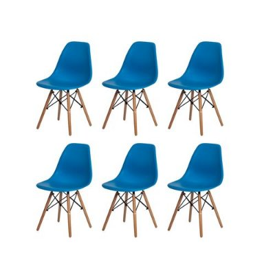 Kit 6 Cadeiras Charles Eames Eiffel Azul Base Madeira Sala Cozinha Jantar