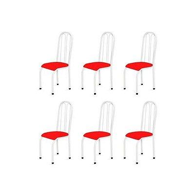 Kit 6 Cadeiras Altas 0.112 Anatômica Branco/Vermelho - Marcheli
