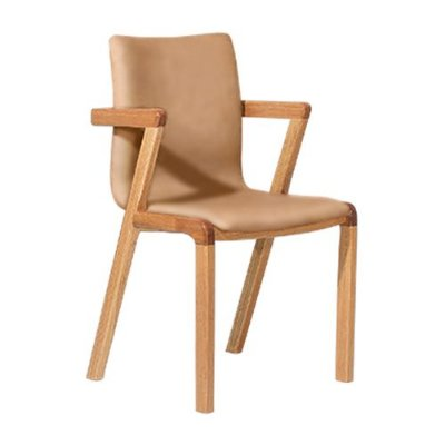 Cadeira Moderna de Jantar Cozinha Natural Corino Caramelo Hug
