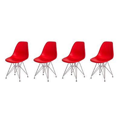 Kit 4 Cadeiras Eiffel Eames Vermelha Base Cromada Sala Cozinha Jantar