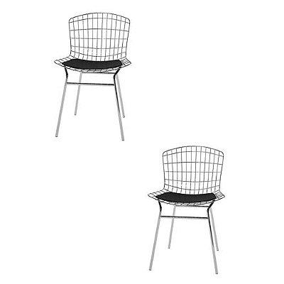 Kit com 2 Cadeiras Trama com Assento em Vinil - Preto/Cromado