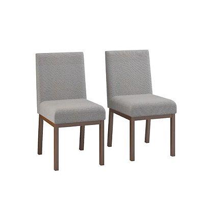 Conjunto 2 Cadeiras Sofia Estofada Lona-Castanho/Cinza
