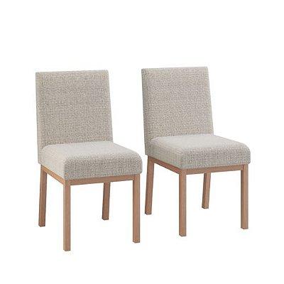 Conjunto 2 Cadeiras Sofia Estofada Linho - Natural/Cinza