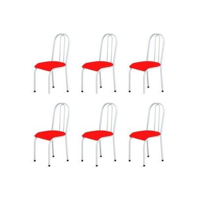 Kit 6 Cadeiras Baixas 0.104 Anatômica Branco/Vermelho - Marcheli