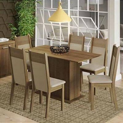 Conjunto Sala de Jantar Madesa Catarina Mesa Tampo de Madeira com 6 Cadeiras Rustic/Crema/Pérola - Cor:Rustic/Crema/Pérola